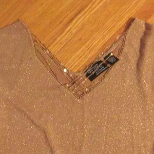 Gold 3/4 sleeves beaded neckline 1X